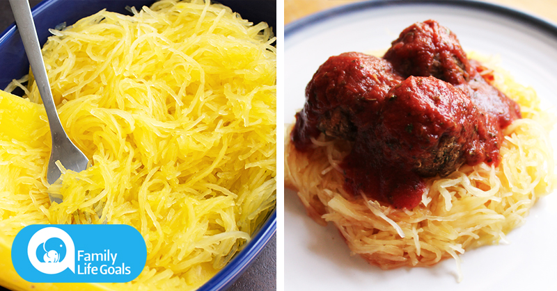 Roasted Spaghetti Squash with Rolled Mushroom Meatballs with Garlic, Turmeric and Chili Flakes