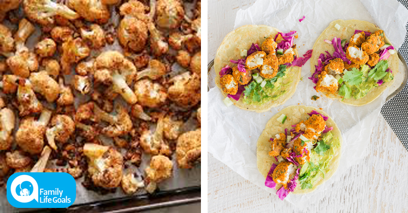 Gluten-Free Crunchy Cauliflower Tacos with avocado, lime and cilantro dressing