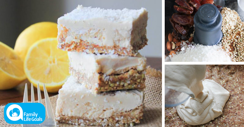Raw Lemon Coconut Cream Bars with dates, almonds and Himalayan sea salt