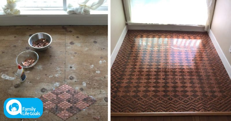 Image of Woman glues $150 worth of pennies to her ugly floor and creates this unbelievable design