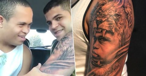 Image of Big Brother Gets Tattoo of Little Brother with Down's Syndrome On Arm, He Loves It