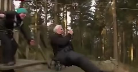 Image of 106 year old great great grandfather breaks zip line world record