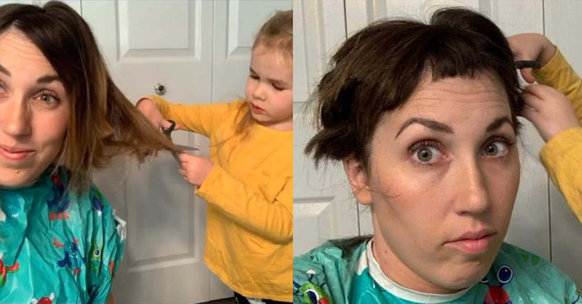 Mom Who Was About To Start Chemo Let Her 4-Year-Old Daughter Give Her a Haircut