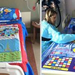 Dad Turns Bedsheets into Board Games To Entertain Kids Staying In The Hospital